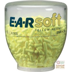 CARICA DA 500 PAIA TAPPI EARSOFT YELLOW NEON PER DISPENSER ONE TOUCH  COLORE GIALLO