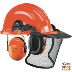 PROTECTIVE HELMET WITH VISOR AND HEADSET IN POLYTHENE WOODCUTTER
