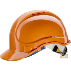 PROTECTIVE HELMET ABS WITH CHIN STRAP AND SWEATBAND RATCHET EN 397 COLOR ORANGE