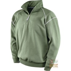 SWEATSHIRT 65% POLYESTER 35% COTTON GR 290 SQM FUNNEL NECKLINE GREEN TG S XXXL