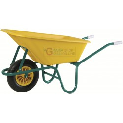 VIGOR WHEELBARROW WITH TUB IN POLYPROPYLENE, LT. 100 YELLOW COLOR