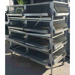 CAGE BATTERY FOR CHICKS CHICKENS HENS PHARAOHS FGGIANI QUAIL USED GALVANIZED WITH WHEELS