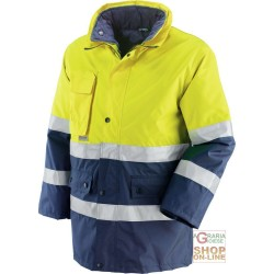 JACKET GB TEX WITH PADDING DETACHABLE BANDS 3M EN 471 EN 343 YELLOW BLUE