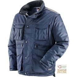 COAT IN POLYESTER PVC WITH PLASTIC SHEETING DETACHABLE SLEEVES BLUE TG XS-XXXL