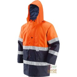 JACKET IN FABRIC GB TEX WITH PADDING BANDS 3M EN 471 EN 343 ORANGE COLOR BLU TG S XXL