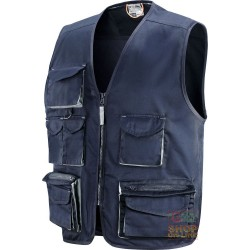 VEST 65% POLYESTER 35% COTTON MULTIPOCKETS WITH PLASTIC SHEETING COLOR BLUE GREY TG M XXL