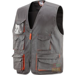 VEST 65% POLYESTER 35% COTTON MULTIPOCKETS WITH PLASTIC SHEETING A GRAY COLOR ORANGE TG M XXL