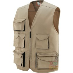VEST 65% POLYESTER 35% COTTON MULTIPOCKETS WITH PLASTIC SHEETING KHAKI COLOR NERO TG M XXL