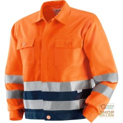 JACKET V-40% POLYESTER 60% COTTON WITH BANDS OF RETRO-REFLECTIVE 3M COLOR ORANGE BLUE