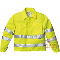 JACKET V-40% POLYESTER 60% COTTON GR 240 SQUARE METERS APPROX WITH BANDS 3M COLOR YELLOW