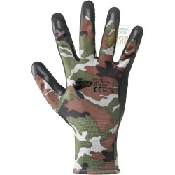 GLOVES ART. 480 CONTINUOUS FILAMENT POLYESTER LATEX CAMOUFLAGE COLOR TG. FROM 8 TO 10