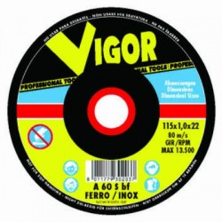 VIGOR ABRASIVE WHEELS FOR IRON, WITH DEPRESSED CM. 230X6,4X22