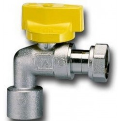 FAUCET BALL GAS TEAM FOR WATER HEATER, WITH HANDLE, FEMALE/FEMALE, CIM 186PG DIAM. 1/2x3/4