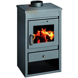 WOOD BURNING STOVE IN THE STAINLESS STEEL MOD. DELUXE-L COLOR ANTHRACITE CM. 46X40X85