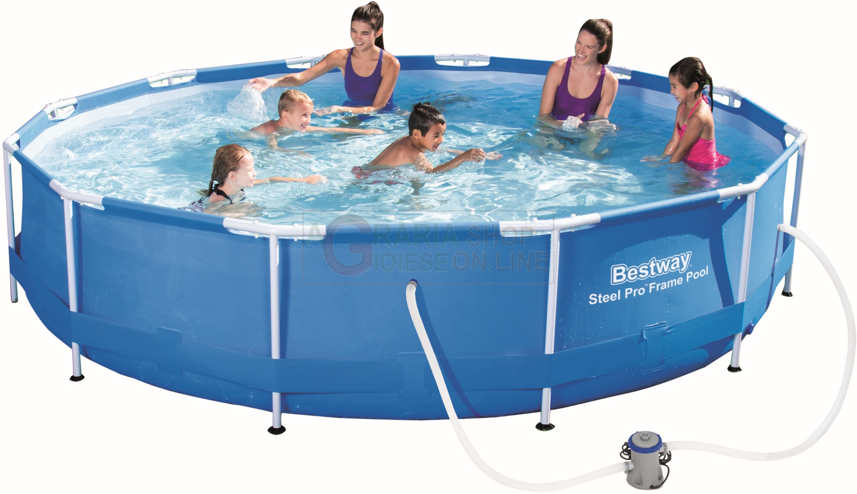 BESTWAY 56416 SWIMMING POOL WITH FRAME FULL STEEL FRAME CM.366x76 ...