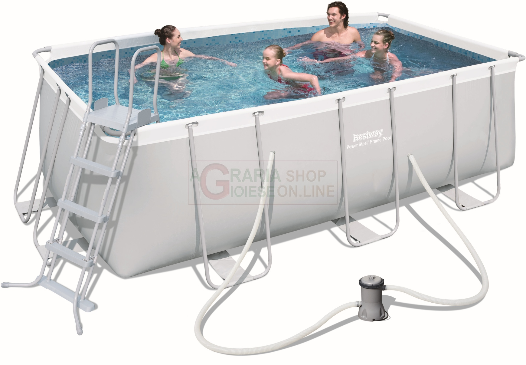 BESTWAY 56456 SWIMMING POOL WITH A CHASSIS POWER STEEL FRAME CM ...