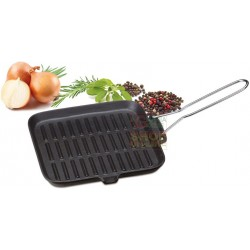 Grill square eve in enamelled cast iron cm. 24 x 24 with folding handle