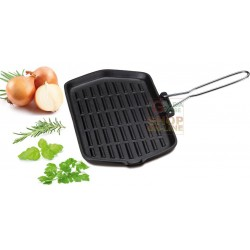Grill rectangular eva in enamelled cast iron cm. 21 x 35 with folding handle
