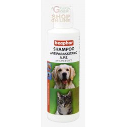 BEAPHAR SHAMPOO anti-PARASITE A. P. E. FOR DOGS AND CATS AGAINST FLEAS AND TICKS on ML. 200