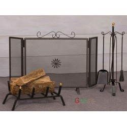 FIREPLACE SET 3 PIECE WROUGHT IRON MOD. ROCCARASO