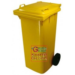 BIN GARBAGE SQUARE WITH WHEELS LT. 120 YELLOW