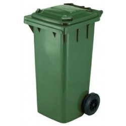 BIN GARBAGE SQUARE WITH WHEELS LT. 120 GREEN
