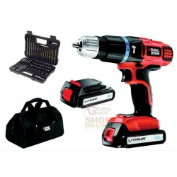 BLACK AND DECKER DRILL WITH 2 BATTERIES LITHIUM 18 V MOD. EGBL188BSA