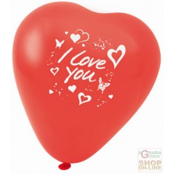 FACKELMANN 5 RED BALLOONS IN THE SHAPE OF A HEART WITH THE WORDS I LOVE YOU ART. 50125