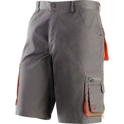 BERMUDA SHORTS 65% POLYESTER 35% COTTON MULTIPOCKETS COLOR GREY ORANGE TG M-XXXL